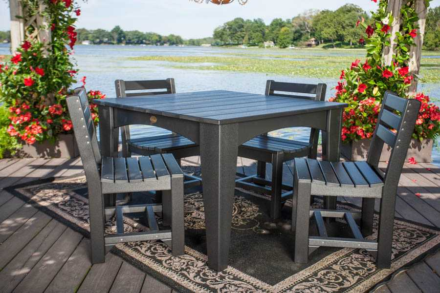 Island Dining Table (44'' Square) Set (Black)